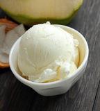 Coconut ice cream is sweet food. Royalty Free Stock Image