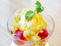 Coconut ice cream tropical fruit Stock Photos
