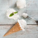 Coconut ice cream wafer cone top view Stock Photography