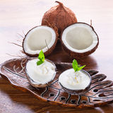 Coconut ice creams. In coco shells Royalty Free Stock Photography