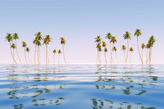 Coconut island at tropic sea Royalty Free Stock Images