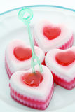 Coconut jelly heart Stock Images