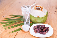 Coconut juice, dates simple iftar break fast food during Ramadan Royalty Free Stock Image