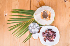 Coconut juice, dates simple iftar break fast food during Ramadan Royalty Free Stock Images