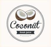 Coconut juice. Detailed Vector label. Stock Image