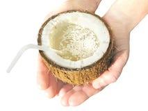 Coconut Juice In Hands Stock Image