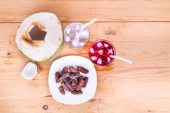 Coconut juice, syrup, dates simple iftar break fast during Ramad Royalty Free Stock Photo
