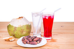 Coconut juice, syrup, dates simple iftar break fast during Ramad Royalty Free Stock Photos
