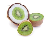 Coconut and kiwi fruit. Homemade concept. Fresh Organic. Healthy ingredients Stock Images