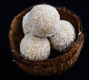 Coconut laddoo. Jaggery and coconut truffles-also known as nariyal laddoo in Indian subcontinent stock photography