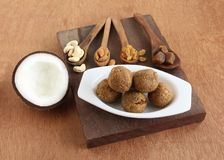 Coconut Laddu Indian Festival Food and its Ingredients Stock Photography