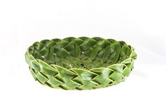 Coconut leafs basket. On white background royalty free stock images
