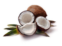 Coconut with leaves closeup Stock Photo