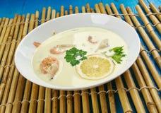 Coconut Shrimp and Cod Chowder. Coconut Lime Shrimp and Cod Chowder Stock Photos