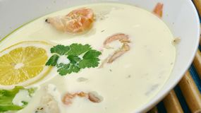 Coconut Shrimp and Cod Chowder. Coconut Lime Shrimp and Cod Chowder Stock Photography