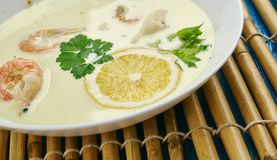 Coconut Shrimp and Cod Chowder. Coconut Lime Shrimp and Cod Chowder Stock Photo
