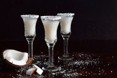 Coconut liqueur in glass with broken coco. Delicious Pinacolada milk cocktail with rum. Alcohol drink liquor. Copy space Stock Images