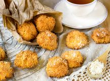 Coconut macaroon cookies. Biscuits with tea Royalty Free Stock Images