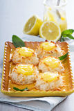Coconut macaroon cookies with lemon curd Royalty Free Stock Photos