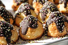 Coconut Macaroons. With Chocolate and Sugar Candies served at a birthday party in Sweden royalty free stock photo