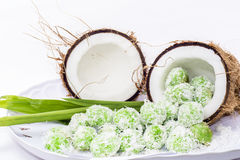 Coconut with malay delicacy. On white background Stock Photography