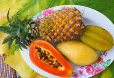 Coconut mango papaya corambola and pineapple Stock Image
