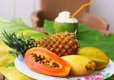Coconut mango papaya corambola and pineapple Royalty Free Stock Photo