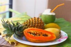 Coconut mango papaya corambola and pineapple Royalty Free Stock Photography