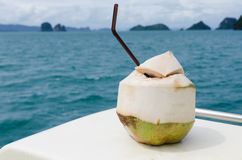 Coconut. Milk on the beach royalty free stock photography