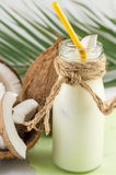 Coconut milk in a bottle Stock Image