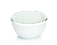Coconut milk with bowl isolated on the white background Stock Photos