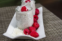 Coconut milk chia pudding Royalty Free Stock Images
