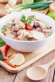 Coconut milk with chicken. Traditional thai soup Tom Kha Gai Royalty Free Stock Images