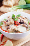 Coconut milk with chicken. Traditional thai soup Tom Kha Gai Stock Images