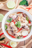 Coconut milk with chicken. Traditional thai soup Tom Kha Gai Stock Photos