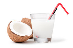 Coconut milk and coconut Royalty Free Stock Photo