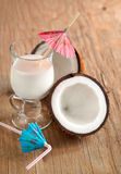 Coconut milk and coconuts. Royalty Free Stock Images