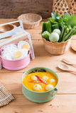 Coconut milk Curry fish and fish ball with thai rice noodle Royalty Free Stock Photo
