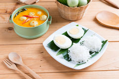 Coconut milk Curry fish and fish ball with thai rice noodle Stock Photography