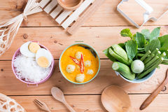 Coconut milk Curry fish and fish ball with thai rice noodle Stock Photos