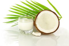 Coconut milk and cut coconut Royalty Free Stock Photo