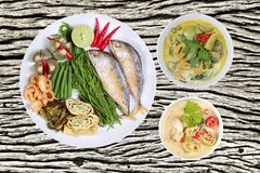 Coconut milk and fermented soy bean sauce and green curry with s stock photo