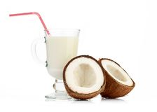 Coconut and milk glass Stock Photos