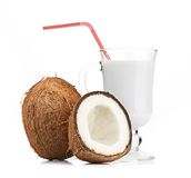 Coconut and milk glass Stock Photography