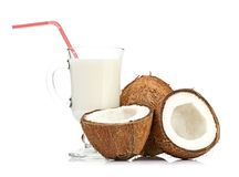 Coconut and milk glass Royalty Free Stock Photography