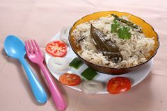 Coconut milk ghee rice, Thaingai pal nei sadam. Coconut milk is high in many vitamins and minerals,Health benefits of coconut milk include its ability to aid in Royalty Free Stock Photography