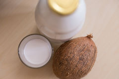 Coconut milk. Homemade coconut milk on the table Royalty Free Stock Image