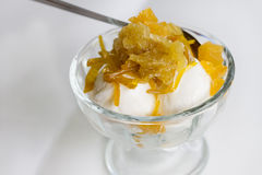 Coconut milk ice cream with topping Stock Photography
