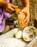 Coconut milk making. Stock Photo