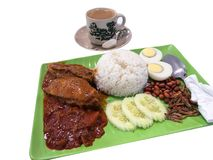 Coconut milk rice Nasi lemak with coffee royalty free stock photos